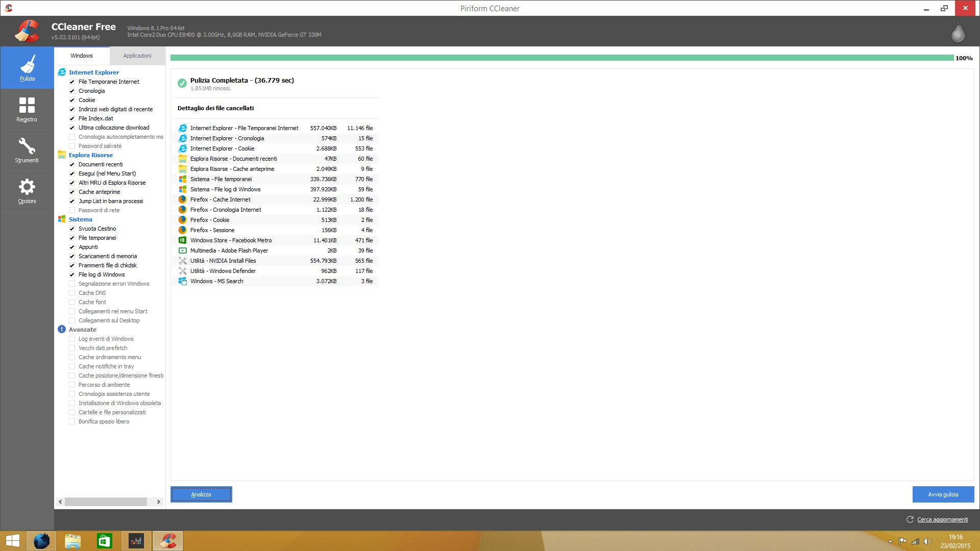 Come potete vedere ho liberato 2 GB di spazio dal mio Hard Disk!