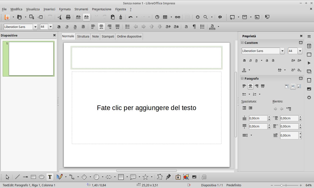 Con Impress è possibile creare presentazioni e diapositive molto velocemente.