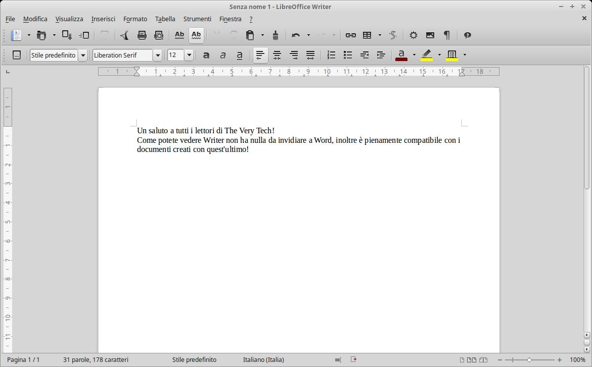 Ecco come si presenta Writer, la controparte di Word.