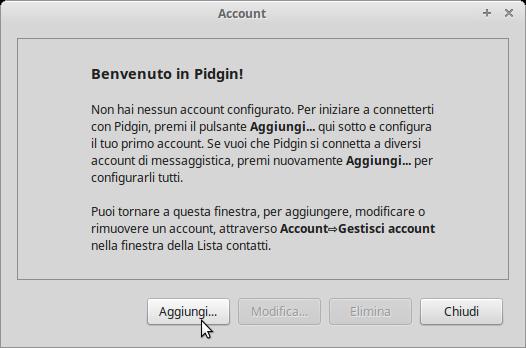 Ecco la schermata che apparirà una volta aperto Pidgin.