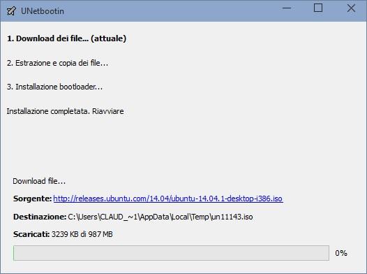 Il programma scaricherà ed installera la versione della distribuzione Linux che avete scelto sulla vostra pennetta USB.