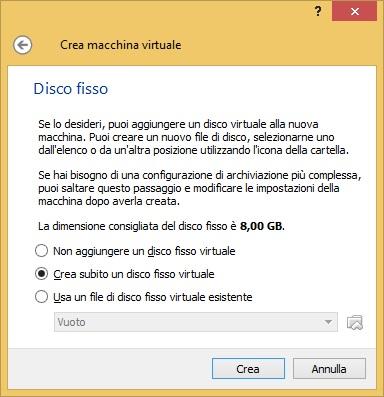 Per poter utilizzare una macchina virtuale abbiamo prima bisogno di creare un Hard Disk virtuale.
