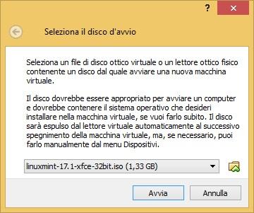 Nel mio caso ho scelto il file .ISO relativo al sistema operativo Linux Mint.