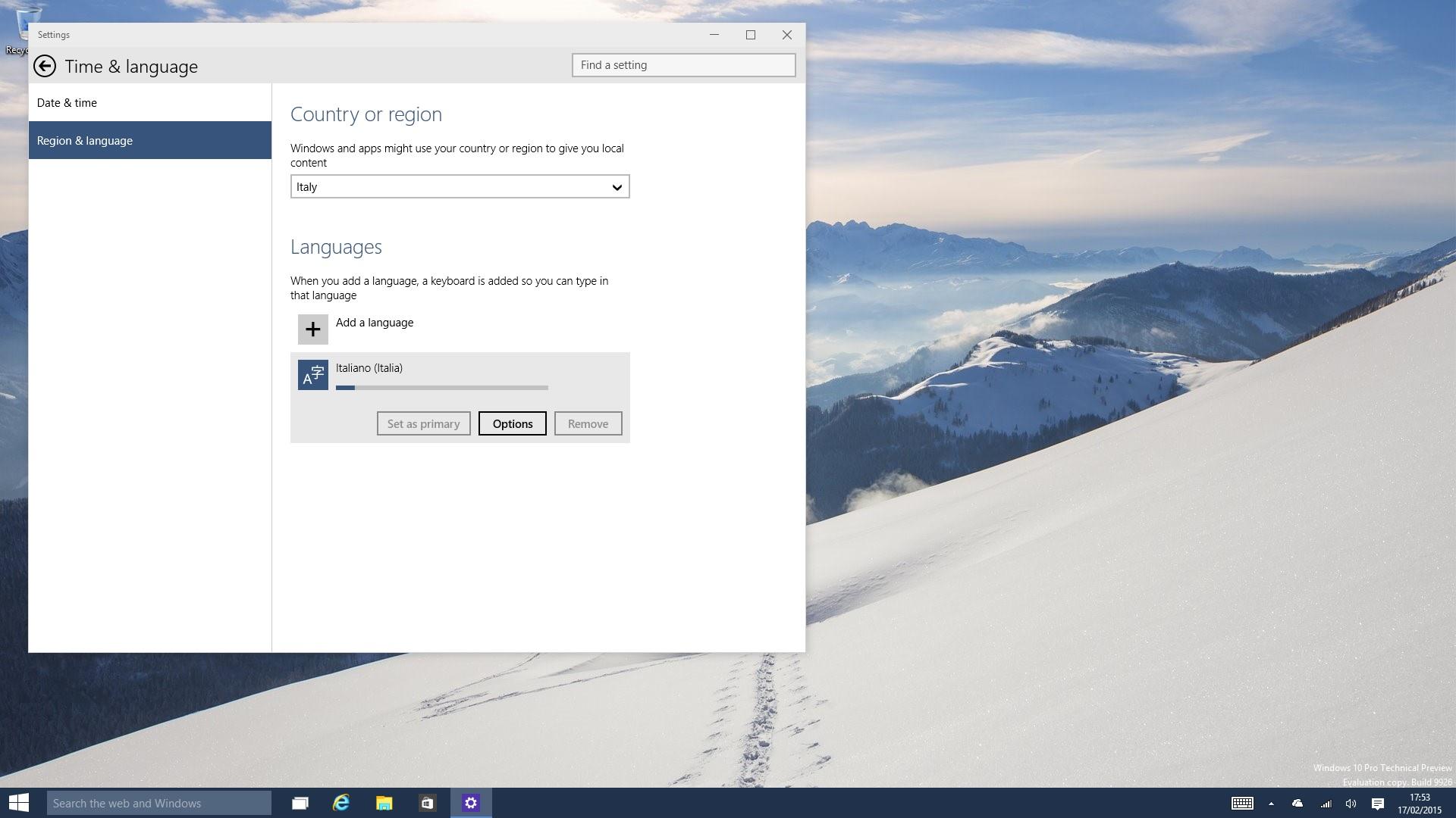 Windows 10 Techincal Preview Italiano