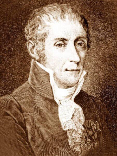 Ritratto di Alessandro Volta, inventore della pila.