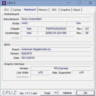 La scheda relativa alla Mainboard (Scheda Madre) del proprio computer.