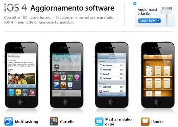 Le feature dell'aggiornamento di sistema iOS 4
