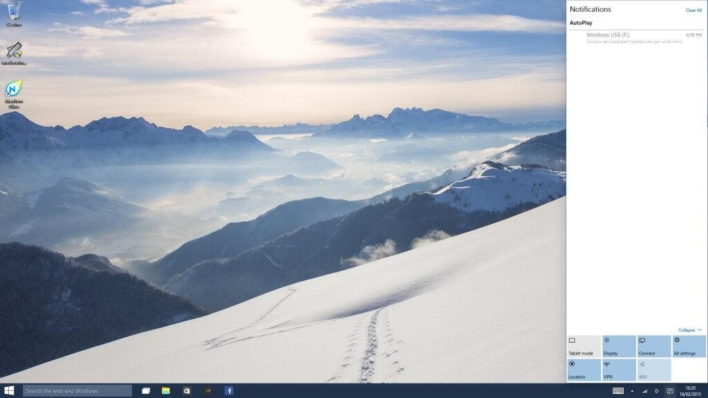 Windows 10 Techincal Preview Centro Notifiche