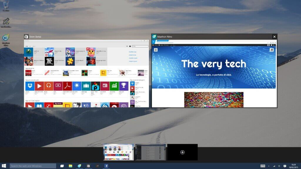 Windows 10 Techincal Preview Viualizzazione Attività
