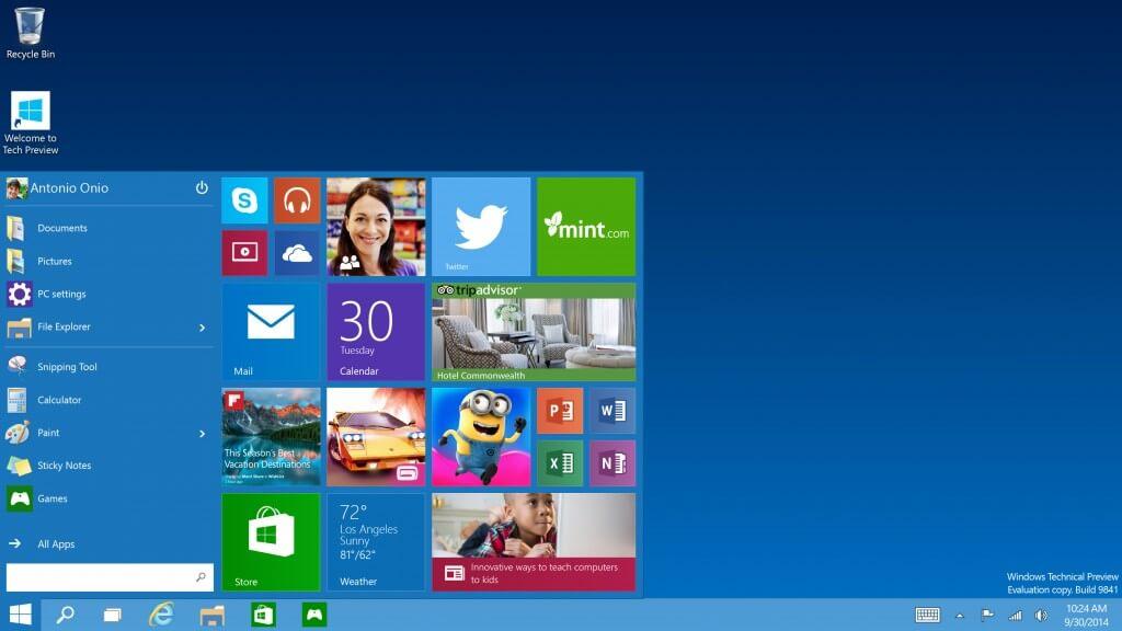 Ecco come si presenta Windows 10. Da notare il nuovo tasto Start.