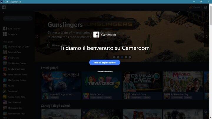 facebook gameroom ti da il benvenuto
