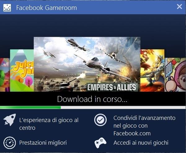 Il programma di installazione di facebook gameroom